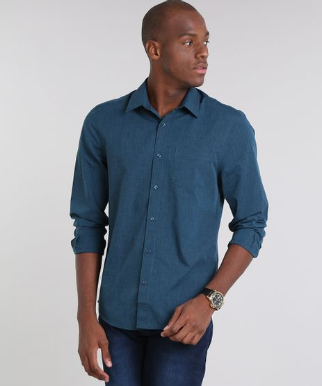 Camisa-Masculina-Comfort-com-Bolso-Manga-Longa--Azul-Petroleo-8826559-Azul_Petroleo_1
