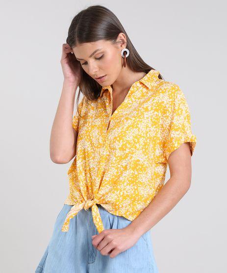 Camisa-Feminina-Cropped-Estampada-Floral-com-No-Manga-Curta-Mostarda-9521090-Mostarda_1