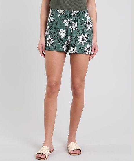 Short-Feminino-Estampado-Floral-Verde-9596613-Verde_1