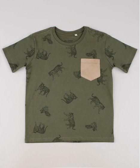 a0eb2e1202816a Camiseta Infantil Estampada de Tigres com Bolso em Suede Manga Curta Verde  Militar