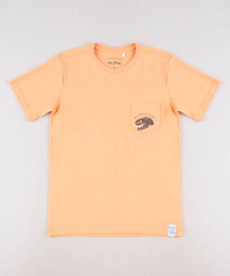 Camiseta-Infantil-Dinossauros--Name--com-Bolso-Manga-Curta-Laranja-9621733-Laranja_1