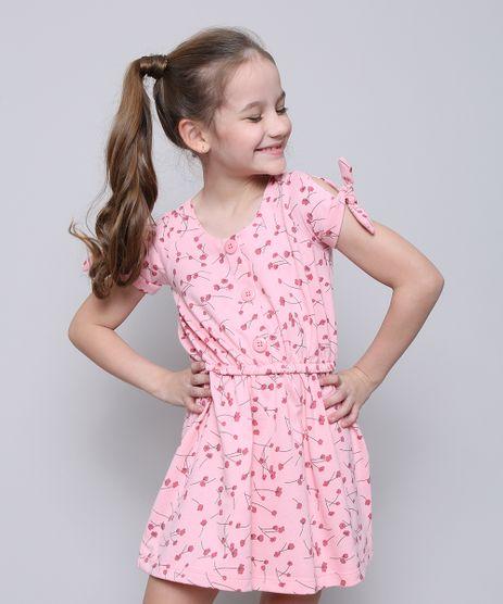 Vestido-Infantil-Estampado-Floral-com-Botoes-Manga-Curta-Rosa-9585660-Rosa_1