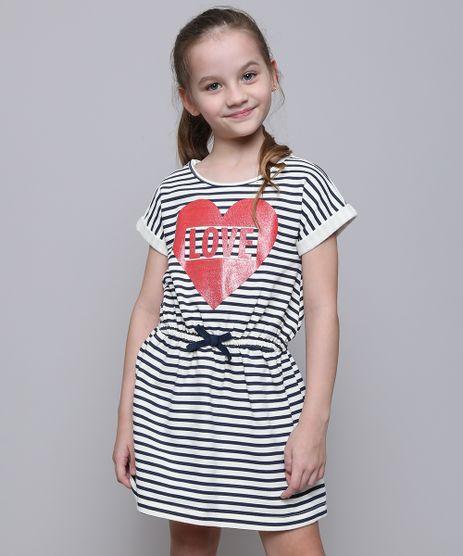 Vestido-Infantil-em-Moletom-Listrado-com-Laco-Manga-Curta-Off-White-9587786-Off_White_1