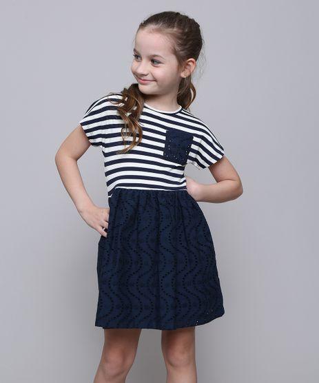 Vestido-Infantil-Listrado-com-Laco-Manga-Curta-Azul-Marinho-9612581-Azul_Marinho_1