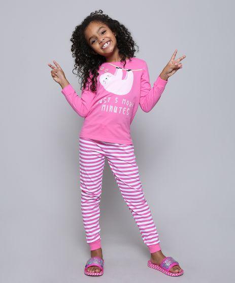 Pijama-Infantil-Bicho-Preguica--Just-5-More-Minutes--Manga-Longa-Pink-9528480-Pink_1