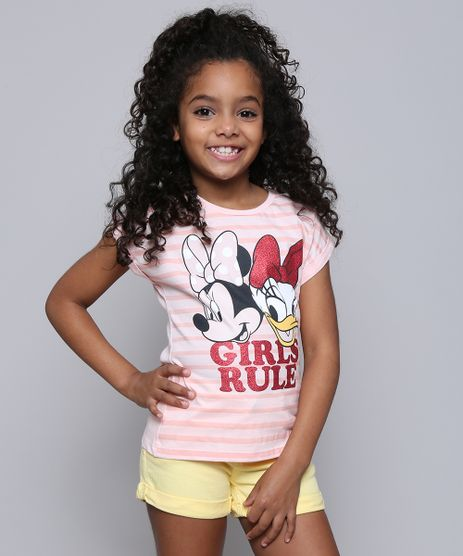 Blusa-Infantil-Minnie-e-Margarida--Girls-Rule--Manga-Curta--Rose-9610881-Rose_1