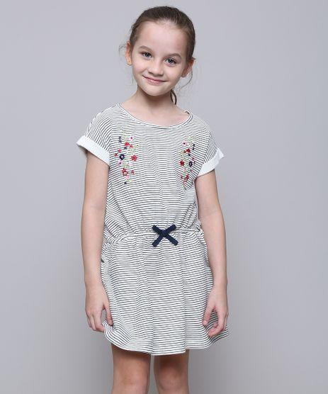 Vestido-Infantil-em-Moletom-Listrado-com-Laco-Manga-Curta-Off-White-9585663-Off_White_1