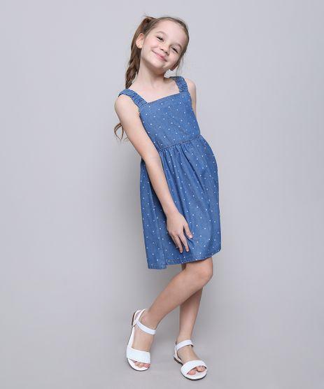 Vestido-Jeans-Infantil-Estampado-de-Estrelas-com-Botoes-Alcas-Medias-Azul-Claro-9615023-Azul_Claro_1