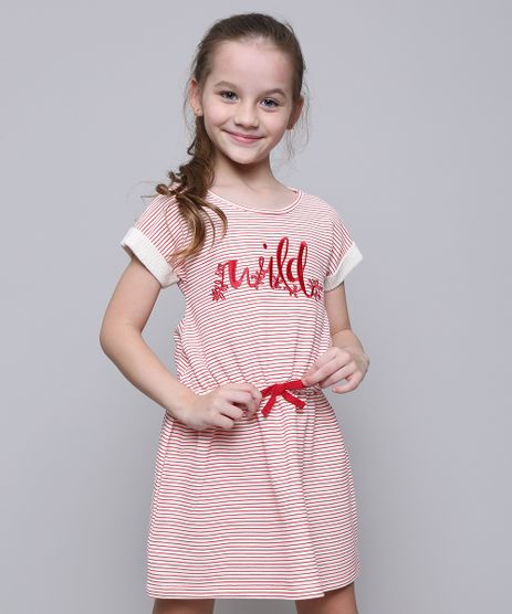 Vestido-Infantil-em-Moletom-Listrado-com-Laco-Manga-Curta-Off-White-9585662-Off_White_1