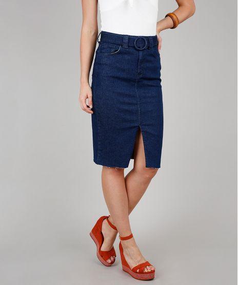 Saia-Jeans-Lapis-Feminina-com-Cinto-e-Fenda-Azul-Escuro-9573594-Azul_Escuro_1