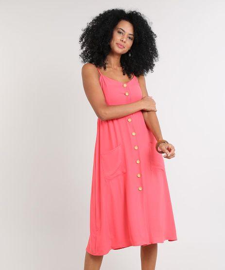 Vestido-Feminino-Midi-com-Bolso-e-Botoes-Coral-9569789-Coral_1