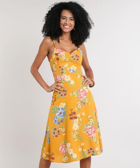 Vestido-Feminino-Midi-Estampado-Floral-com-Franzido-Decote-V-Mostarda-9608166-Mostarda_1