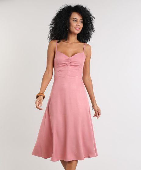 Vestido-Feminino-Midi-com-Franzido-Decote-V-Rose-9613628-Rose_1