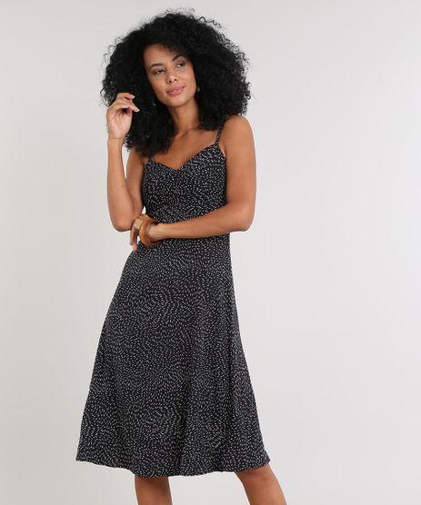 Vestido-Feminino-Midi-Estampado-com-Franzido-Decote-V-Preto-9608165-Preto_1