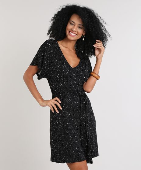 Vestido-Feminino-Estampado-de-Poa-Manga-Curta-Decote-V-Preto-9616067-Preto_1