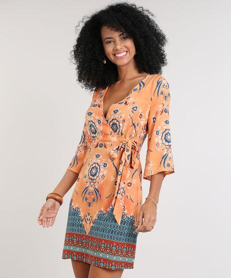 Vestido-Feminino-Estampado-Etnico-Transpassado-Manga-Curta-Decote-V-Laranja-9538443-Laranja_1