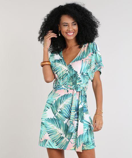 Vestido-Feminino-Estampado-de-Folhagens-Manga-Curta-Decote-V-Verde-9616068-Verde_1