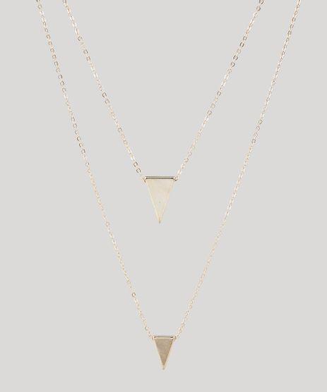 Colar-Feminino-Duplo-Folheado-com-Pingentes-de-Triangulo-Dourado-9558879-Dourado_1