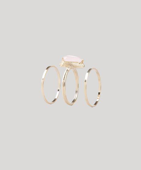 Kit-de-3-Aneis-Femininos-Folheados-com-Pedra-Zirconia-Dourado-9544859-Dourado_1