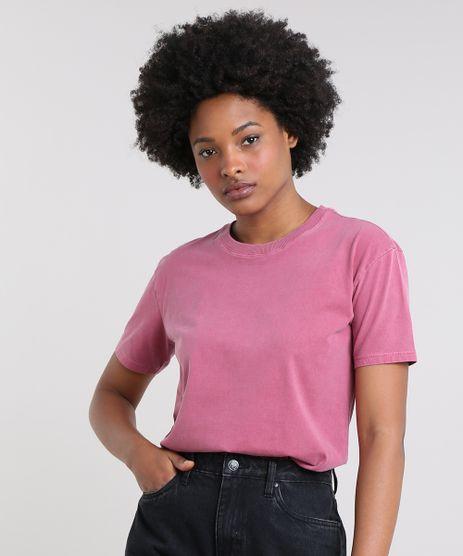 T-Shirt-Feminina-Mindset-Ampla-Manga-Curta-Decote-Redondo-Vinho-9672495-Vinho_1