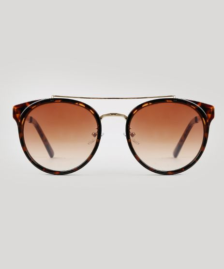 Oculos-de-Sol-Redondo-Unissex-Oneself-Tartaruga-9671605-Tartaruga_1