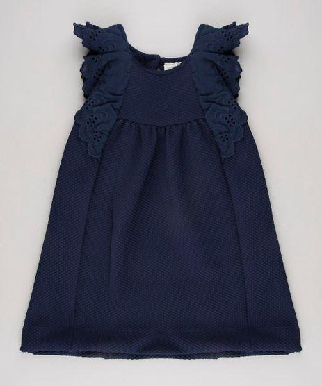 Vestido-Infantil-Floral-com-Babado-em-Laise-Sem-Manga--Azul-Marinho-9623068-Azul_Marinho_1