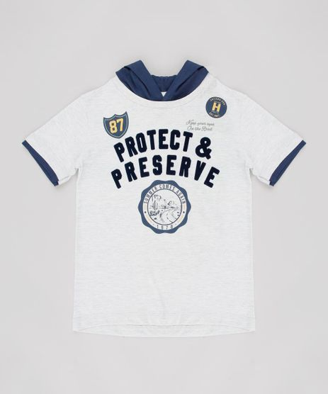 Camiseta-Infantil--Protect--com-Capuz-Manga-Curta-Cinza-Mescla-Claro-9629772-Cinza_Mescla_Claro_1