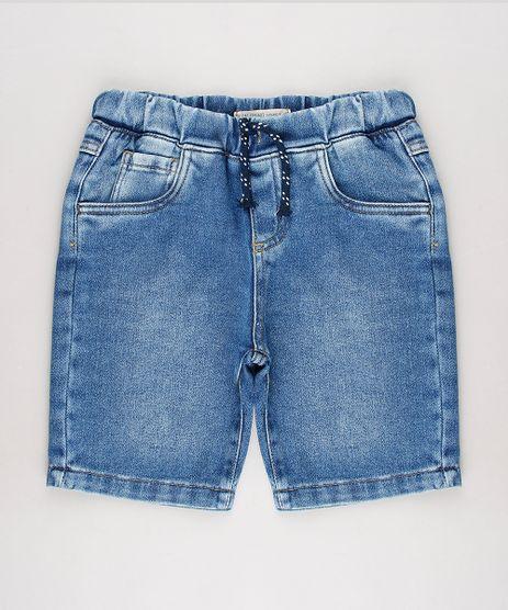 Bermuda-Jeans-Infantil-em-Moletom-com-Bolsos-Azul-Medio-9654549-Azul_Medio_1