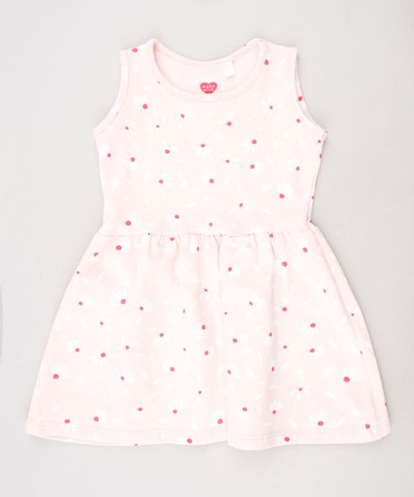 Vestido-Infantil-Estampado-Floral-Sem-Manga--Rosa-Claro-9631444-Rosa_Claro_1