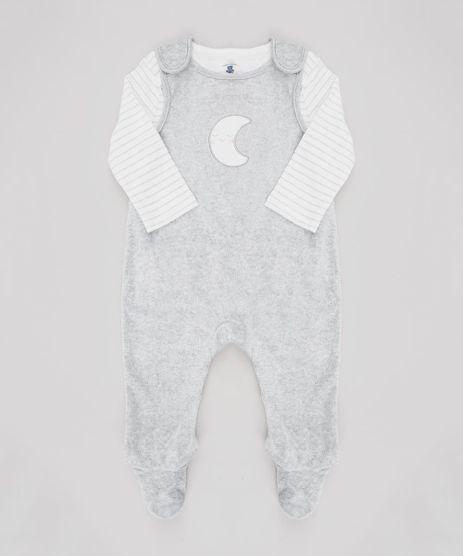 Conjunto-Infantil-de-Camiseta-Listrada-Manga-Longa-Off-White---Macacao-Lua-em-Plush-Sem-Manga-Cinza-Mescla-9451020-Cinza_Mescla_1