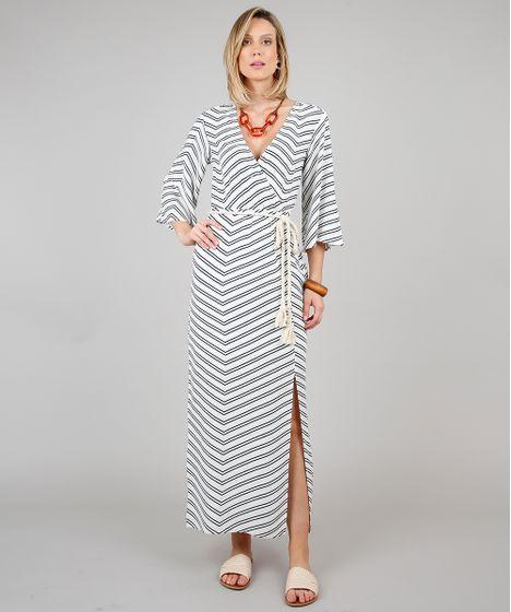 c7663961bcf2c9 Vestido Feminino Longo Estampado Geométrico com Cinto Manga 3/4 Off White