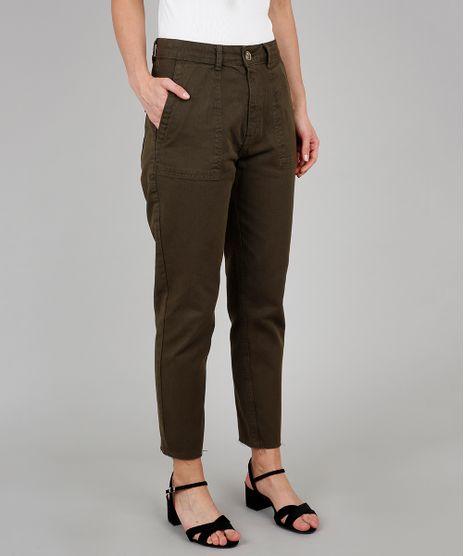 Calca-de-Sarja-Feminina-Mom-Verde-Militar-9594595-Verde_Militar_1
