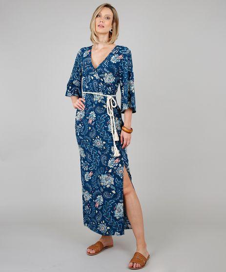 Vestido-Feminino-Longo-Estampado-Floral-com-Cinto-Manga-3-4-Azul-Marinho-9538441-Azul_Marinho_1
