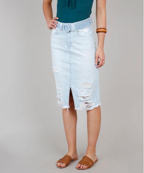 Saia-Jeans-Lapis-Feminina-com-Cinto-e-Fenda-Azul-Claro-9573593-Azul_Claro_1
