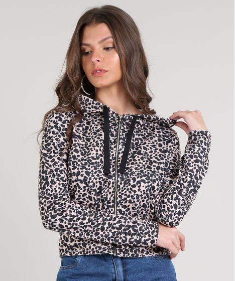 73a835d47b Blusão Feminino em Moletom Estampado Animal Print com Zíper Bege
