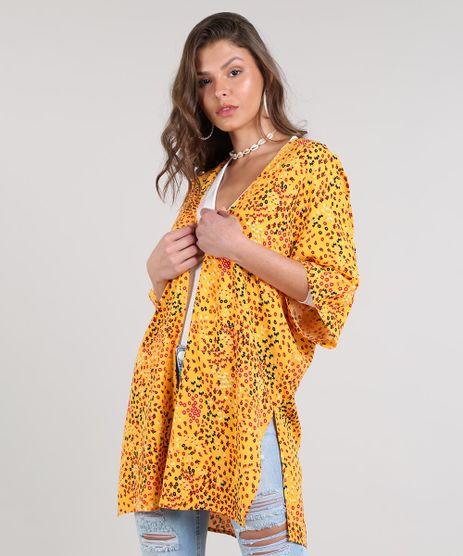 Kimono-Feminino-Estampado-Floral-Com-Fendas-Amarelo-9514237-Amarelo_1