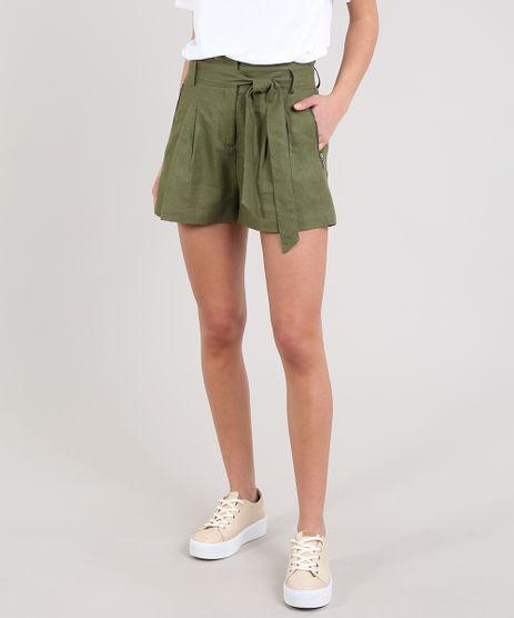 Short-Feminino-Clochard-Com-Amarracao-Verde-Militar-9366669-Verde_Militar_1