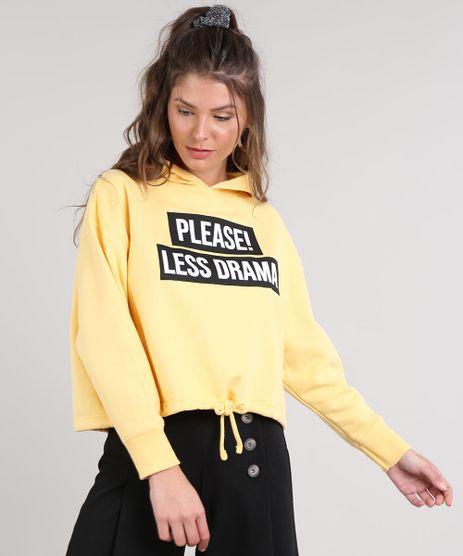 Blusao-Feminino--Please--Less-Drama--com-Capuz-em-Moletom-Amarelo-9523974-Amarelo_1