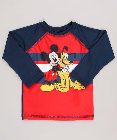 Camiseta-de-Praia-Infantil-Estampada-Mickey---Pluto-Manga-Longa-Gola-Careca-com-Protecao-UV50--Vermelha-9629357-Vermelho_1