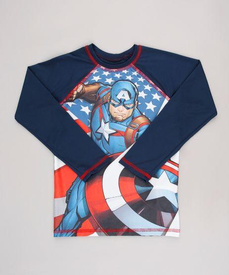 Camiseta-de-Praia-Infantil-Estampada-Capitao-America-Manga-Longa-Gola-Careca-com-Protecao-UV50--Azul-Escuro-9630794-Azul_Escuro_1