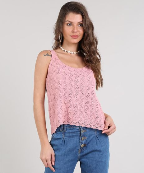 Regata-Feminina-em-Trico-Ampla-Decote-Redondo--Rose-9631403-Rose_1