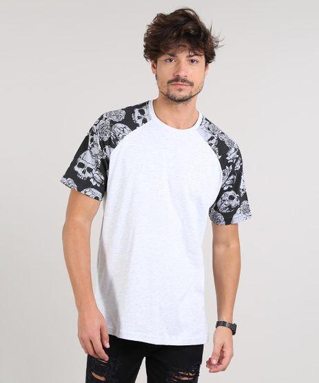 Camiseta-Masculina-Floral-e-Caveiras-Manga-Curta-Gola-Careca-Cinza-Mescla-Claro-9607298-Cinza_Mescla_Claro_1