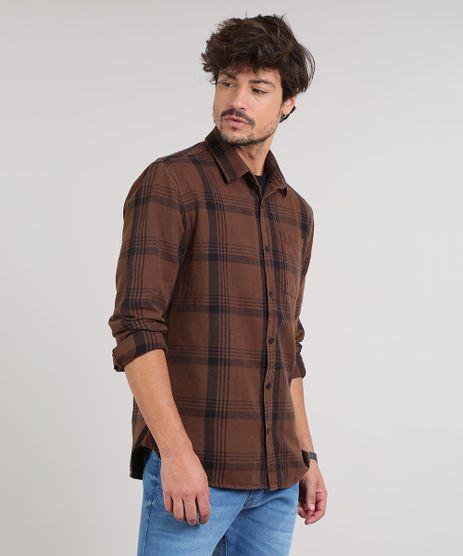 Camisa-Masculina-Estampada-Xadrez-Manga-Longa--Marrom-Escuro-9531924-Marrom_Escuro_1