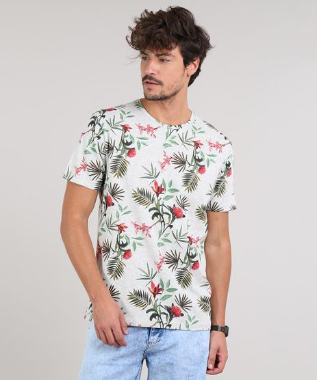 Camiseta-Masculina-Estampada-Floral-e-Folhagens-Manga-Curta-Gola-Careca-Cinza-Mescla-Claro-9593995-Cinza_Mescla_Claro_1