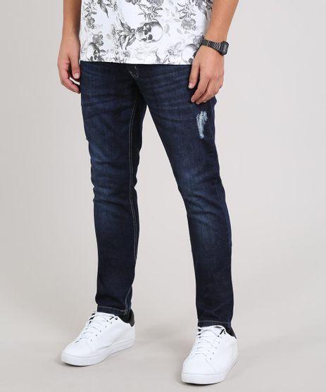 Calca-Jeans-Masculina-Skinny-com-Puidos-Azul-Escuro-9643061-Azul_Escuro_1