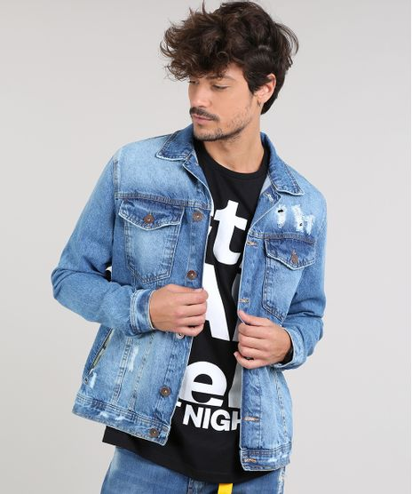 Jaqueta-Jeans-Masculina-Trucker-Destroyed-Com-Bolsos--Azul-Medio-9599247-Azul_Medio_1