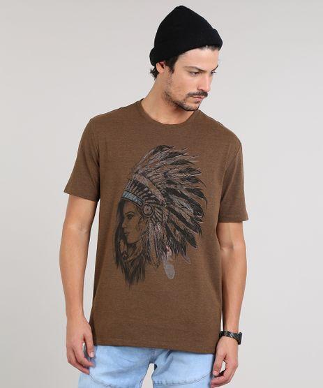 Camiseta-Masculina-India-com-Cocar-Manga-Curta-Gola-Careca-Marrom-Escuro-9609305-Marrom_Escuro_1
