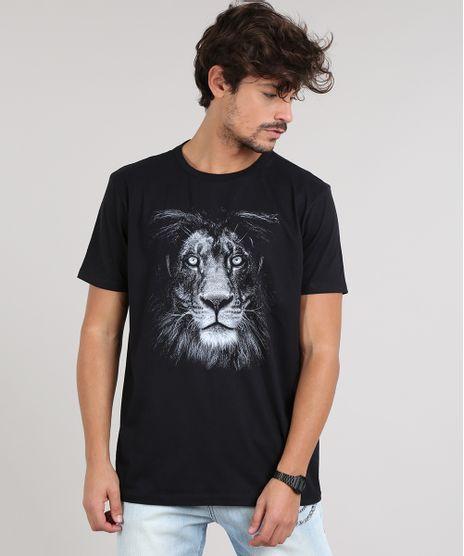 Camiseta-Masculina-Leao-Manga-Curta-Gola-Careca-Preta-9629243-Preto_1