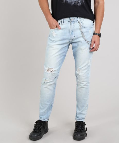 Calca-Jeans-Masculina-Carrot-Destroyed-com-Corrente-Azul-Claro-9620534-Azul_Claro_1