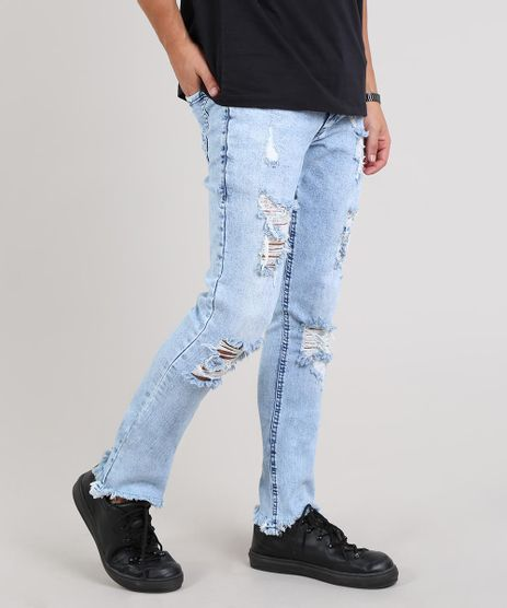 Calca-Jeans-Masculina-Skinny-Destroyed-Barra-Desfiada-Azul-Claro-9643063-Azul_Claro_1